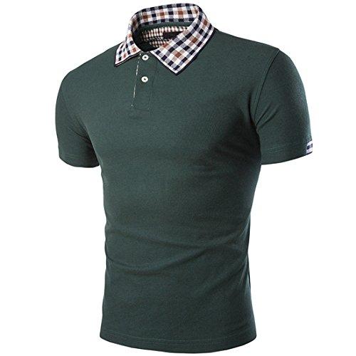 Glestore Herren Polohemd Poloshirt Kurzarm Karo Kragen Botton-down Grün
