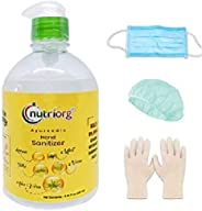 Nutriorg Elovra Hand Sanitizer 250ml With 2 Units of 3 Ply Facial Protect, 2 Pair Gloves & 2 Head