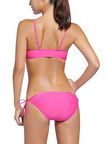 Dolamen Donna Costume Da Bagno con pantaloncini, 3 in 1 Bikini Vintage Costume intero con coppe soffici moda da bagno Swimsuit Swimwear Costume Mare Rosa