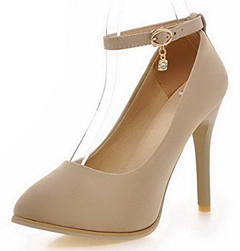 AllhqFashion Femme Couleur Unie Suédé Stylet Pointu Boucle Chaussures Légeres Beige