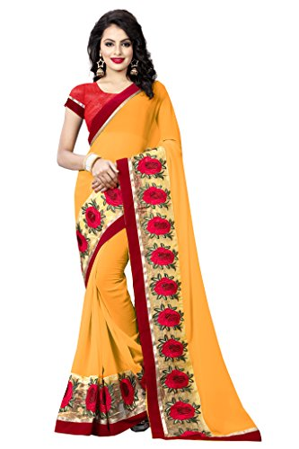 Regent-E Fashion Women's Georgette Saree (Aatech-148_Yellow & Red_Free Size)