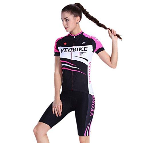 GWELL Damen Radtrikot Set Fahrradbekleidung Trikot Kurzarm + Radhose mit 3D Sitzpolster Muster-C M