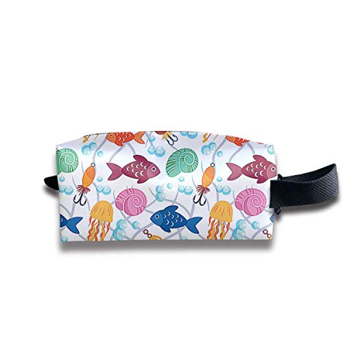 Free Fish Pattern Women Cosmetic Bag Travel Girls Oxford Toiletry Bags Lovely Portable Hanging Organizer Makeup Pouch Pencil Case