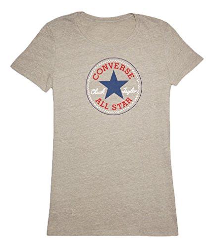 Converse Damen T-shirt AWT Core 2 Color Hthr Cp Crew, Vintage Grey Heather, XS, 12016C-002 (Jersey Converse T-shirt)