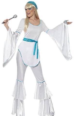 Karnevalsbud - Damen 70er Jahre Disco Power Outfit, M, Weiß