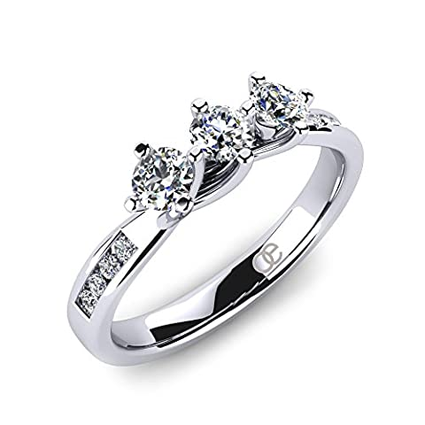 Moncoeur Engagement Wedding Rings Dahlia + 3 Stone Cubic Zirconia Engagement Ring + 3 Stone CZ Ring + Sterling Silver Engagement Rings + Wedding Bands for Women + Comfort Fit + Luxury Gift