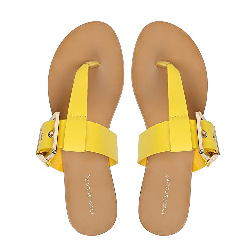 Ideal Shoes – nu-pieds con cinturone Veronica Giallo