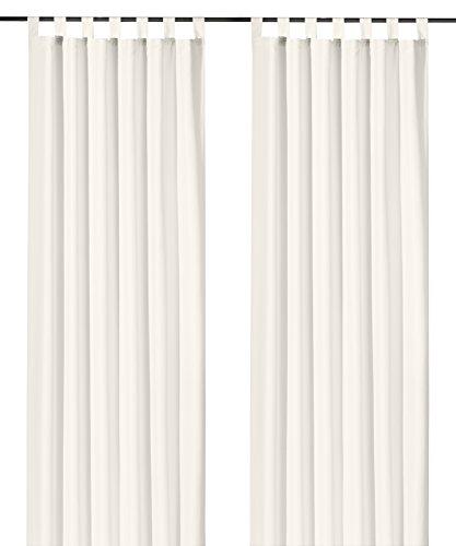 heimtexland ® Schlaufenschal Kräuselband Uni Off-White Natur HxB 245x140 Blickdicht Lichtdurchlässig Vorhang ÖKOTEX Typ117 -