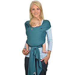 HOPPEDIZ elastisches Tragetuch für Früh- und Neugeborene, inkl. Trageanleitung, 4,60m x 0,50m, Petrol
