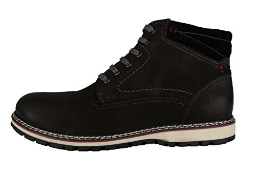 360 Herren-Schuhe Boots Kurzschaft Leder-Stiefel Bandit Stiefeletten Leonardo (46, (Schwarz Bandit Stiefel)