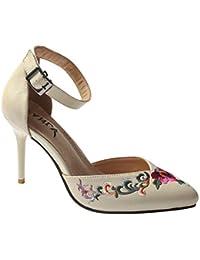 Huatime Donne Scarpe con Tacco Sandali - Decorato Alto Blocco Heel Sandalo  Chiuso Punto Le Dita a4dd9537834