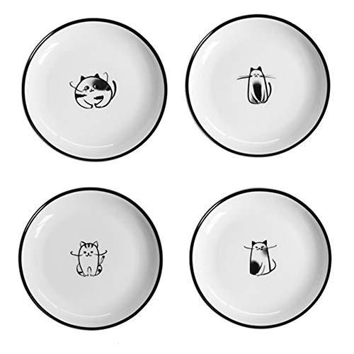 Un gran regalo de inauguración de la casa, y perfecto para los amantes de los gatos. Tamaño: 12.8 * 1.6 cm / 5 * 1 pulgada  Material: Cerámica de alto rendimiento, sin plomo (apto para alimentos) Diseño de : El patrón de un gato súper lindo hace qu...