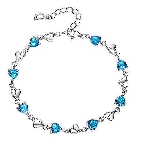 925er Sterling Silber Diamant Damen Armreif Blau Zirkon Armband Einstellbar Scharnier