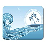 AOCCK Tapis de Souris, Gaming Mouse Pad Blue Ocean Sea Horizon Tropical Island and Palms Waves Beach 11.8'x 9.8' Decor Office Nonslip Rubber Backing Mousepad Mouse Mat