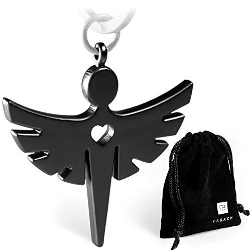 2 Schutzengel Schlüsselanhänger mit Herz – Edler Engel Anhänger aus Metall in mattem Schwarz – Glücksbringer Geschenk für Auto, Führerschein – FABACH™