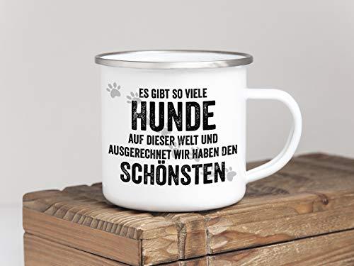 Interluxe EMAILLE Becher Retro Tasse ES GIBT SO VIELE Hunde Geschenk Hundeliebhaber Haustier...