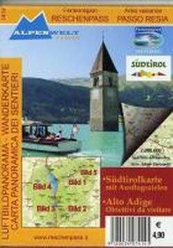 Preisvergleich Produktbild Luftbildpanorama & Wanderkarte - Ferienregion Reschenpass - Area vacanze Passo Resia