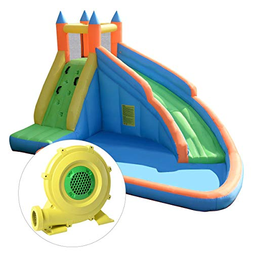 COSTWAY Inflatable Bouncy Castle Jumper House Water Pool Slide Activity Center, 2 Type (Type 1 Bouncy Castle + 450W Blower)