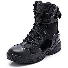89f99de932f Newbestyle Chaussures de Randonnée Hommes Bottes Militaire Cuir Patrouille  Combat Armée Tactique Recrues Armée Désert Sécurité