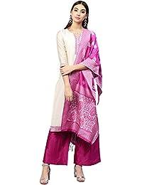 Jaipur Kurti Women Off White & Rani Solid Straight Chanderi Kurta with Palazzo & Dupatta