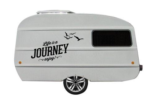 Wohnwagen Aufkleber für QEK Junior XXL Spruch Journey (schwarz matt) -