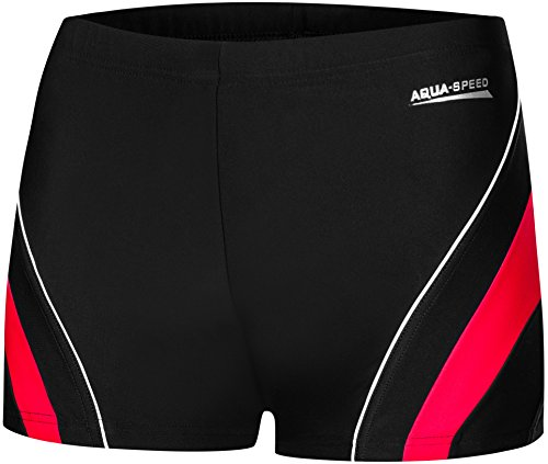 Aqua Speed Badehose für Herren I Swimshorts Slim Fit I Swimsuit Men I enge Boxershorts I Badeshorts eng für Jungen I Schwimmleggings kurz I coole Swimming Trunks for Boys I Dennis, Gr. M, 16/Black red