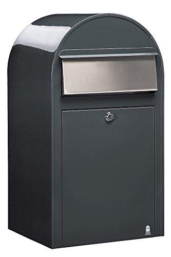Bobi Grande Briefkasten RAL 7016 grau, Klappe aus Edelstahl Wandbriefkasten