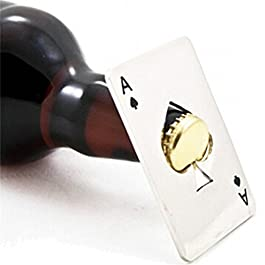 Apribottiglie in acciaio inox a forma di carta di credito con simbolo del poker, per portafogli, colore argento, Acciaio…