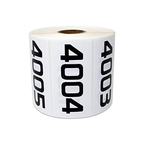 officesmartlabels aufeinander folgenden Zahlen 0001-10007,6x 3,8cm Aufkleber Etiketten 1 Roll 4001-5000 White - Gold Seal Häuser