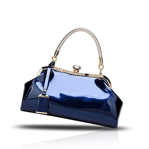H&S La nuova borsa femminile laccata di cuoio di vernice di modo ha placcato il raccoglitore della signora di svago del sacchetto del messaggero della spalla blu
