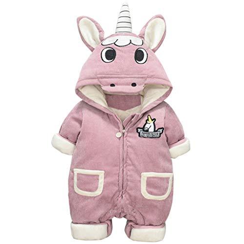 Vine Trading Co.,Ltd Baby Overall Winter Strampler Fleece Pyjama mit Kapuze Schneeanzug Einhorn Jumpsuit