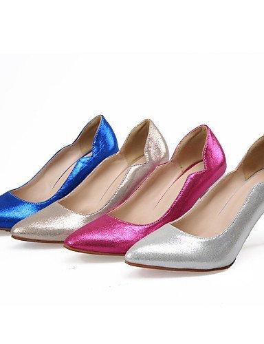 ShangYi Chaussures Femme - Mariage / Habillé - Bleu / Argent / Or / Corail - Talon Aiguille - Talons / Bout Pointu - Talons - Similicuir Silver