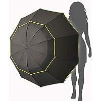 Kalolary Paraguas para Golf de 62Inch, Resistente al Viento, Doble Cubierta con ventilación, Extra Grande, Negro