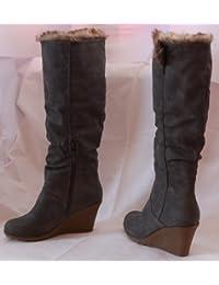 De piel de pelo botas para mujer de botas de invierno para zapatos y botas para mujer Botas de seguridad de colour gris Colour gris y beige, 40