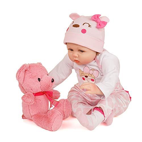 Yesteria Lebensechte Reborn Babypuppe Mädchen Silikon Weiß und Rosa Outfit mit Spielzeug Teddybär 55 cm