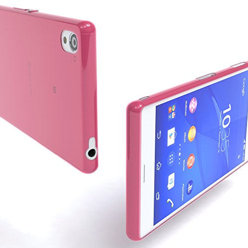"Sony Xperia Z Hülle - Hülle, EAZY CASE Slimcover ""Clear"" Handyhülle - Schutzhülle als Smartphone Case in Schwarz / Anthrazit Clear Pink"