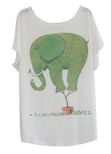 Luna et Margarita Camiseta Mujer Blanca Manga del Batwing patrón Elefante Verde Cuello Redondo Mezcla de algodón tamaño 36 38