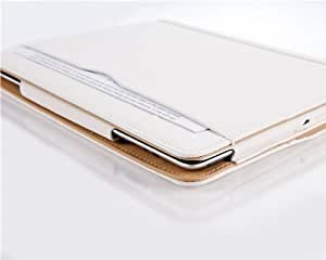 iPad Air 2 Case - The Original White & Tan Leather Smart Cover for iPad Air and Air 2 (5th and 6th Gen)