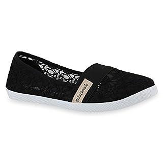 Bequeme Damen Slipper Slip-ons Sportliche Flats Stoff Prints Glitzer Freizeit Schuhe 142479 Schwarz Muster Amares 36 Flandell
