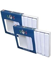 S4S Men's 100% Cotton Premium Collection Handkerchiefs - Pack of 12 (White_46X46 CM)
