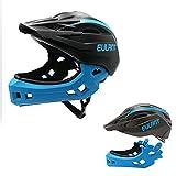 EULANT Aktualisierter Fullface-Helm für Kinder, Kinderhelm mit Kinnschutz, Fahrradhelm für Mädchen und Jungen im Alter von 2-10 Jahren, passt Kopfgröße 48-56,Schwarz/Blau M