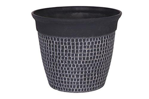 Cera-Mix Vaso da fiori, per piante Roca, resistente al gelo e leggero, Nero, 50x43cm