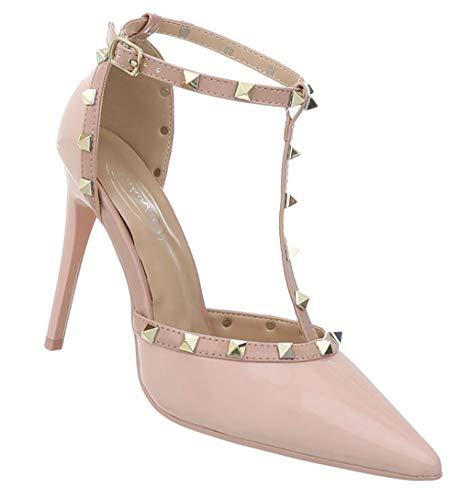 Schuhcity24 Damen Pumps | Sexy Heels | Stiletto Sandalette | Club High | Lack-Leder-Imitat Abendschuhe | Fashion Partypumps | Designer Pfennigabsatz Pump Spitz | Rosa 40