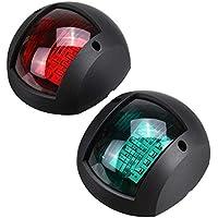 2pcs de la lámpara LED de luces de navegación de la señal for el puerto de estribor del barco marino (Color : Black)