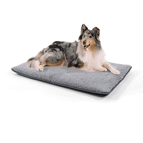 """brunolie """"Finn"""" mittlere Hundematte, waschbar, hygienisch und Rutschfest, Hundedecke passend für die Transportbox oder Das Sofa in Grau, Größe M"""