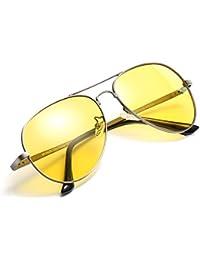 HD Pilotenbrille Sonnenbrille Autofahren Damen Herren mit Gelben Polarisierten Metallrahmens Entspiegelten 100% UV400 Schutz (Shwarz/gelb) MP8GDmW