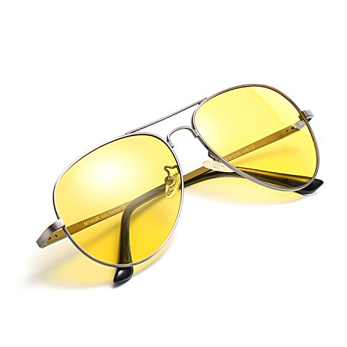 HD Gelbe Nachtsichtbrille Autofahren Polarisiert für Damen Herren Pilotenbrille with 100% UVA UVB...