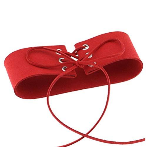 Flybloom Jahrgang Breiter Kragen Strap Halskette Spitze Halsband Für Frauen Mädchen Charme Zubehör,Rot