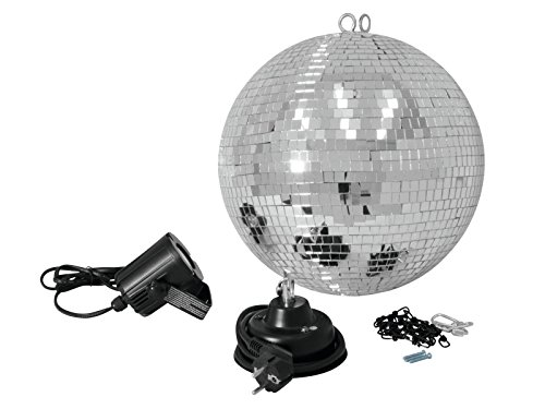 Set aus 2 x Discokugel Paketen NIGHT FEVER mit silberner Kugel, LED-Punktstrahler und Zubehör, Ø 30 cm - Spiegelkugel Set mit LED Pinspot - showking