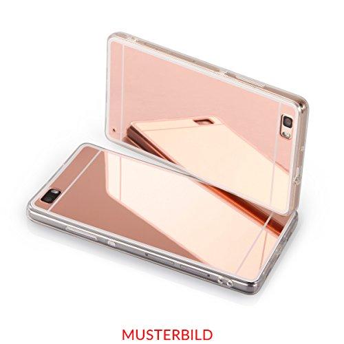 EGO® Luxus TPU Silikon Spiegel Schutz Hülle Back Case für Huawei P9 Lite Gold Handy Cover mit Glanz Mirror spiegelnd, dünn und elastisch Kupfer